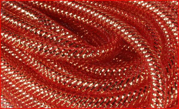8Mmx30Yd Deco Flex Tubing Red W/18K Gold Foil RE300443 - DecoExchange