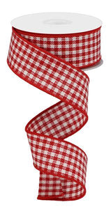 "1.5""X10Yd Woven Mini Check Red/White RGA1922W7 - DecoExchange"
