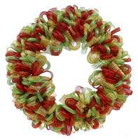 "24"" Christmas Wreath, Tubing Wreath, Unique Christmas Wreath, Tinsel Wreath, Red Lime Green and Gold Wreath - DecoExchange"