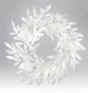 "28"" Bay Leaf Wreath Clear/Iridescent XX5768 - DecoExchange"