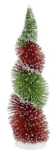 "13""H Swirl Bottle Brush Glitter Tree Red/Lime XT853232 - DecoExchange"