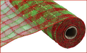 "21""X10Yd Tinsel/Pp/Faux Jute Check RY941234 - DecoExchange"