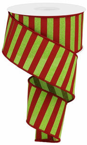 "2.5""X50YD MEDIUM HORIZONTAL STRIPE LIME GREEN/RED RGA5073WY"
