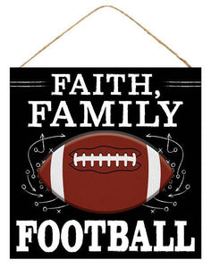 "12""Sq Faith Family Football Sign Black/White/Brown AP8447 - DecoExchange"