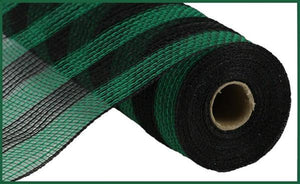 "10.5""X10Yd Faux Jute/Pp Small Stripe Black/Emerald Green RY8319N5 - DecoExchange"