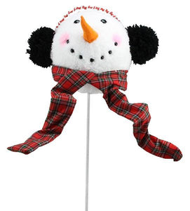 "28""Oal Snowman Head Tree Topper W/Pick White/Black/Red XN594502 - DecoExchange"