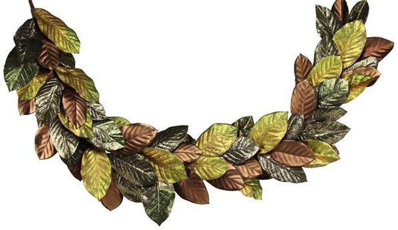 6'L Magnolia Leaf Garland Brown/Olive NF204254 - DecoExchange