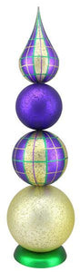 "22""L Antique Look Plaid/Glitter Tree Mardi Gras XT158658"