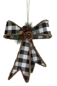 "12.5""H Gingham/Euonymus Ribbon Bow Black/White XC619732 - DecoExchange"