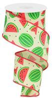 "2.5""X10YD WATERMELON SLICES ON ROYAL Yellow/Cream/Red/Pink/Green/Black Ribbon RG0199229 - DecoExchange"