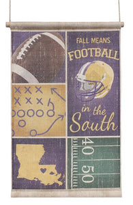"32""L Fall/Football-Louisiana Banner Purple/Yellow/Grn/Brn-Wp AP9093 - DecoExchange"