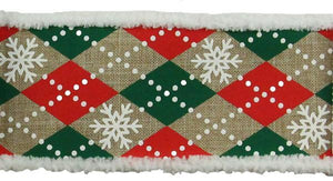 "2.5""X10YD ARGYLE SNOWFLAKES ON ROYAL BEIGE/RED/EMERALD/WHITE RG0802401"