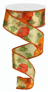 "1.5""X10Yd Pumpkins/Leaves/Satin/Sheer Crm/Org/Ylw/Grn/Gld RGC1037 - DecoExchange"