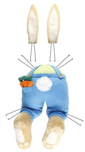 "3Pc 27""Lx10""W Boy Bunny Decor Kit Brn/Cream/Blue/Grn/Org HE7136"