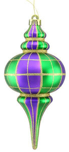 "10""H Plaid Matte/Glitter Finial Ornament Mardi Gras XY866258 - DecoExchange"