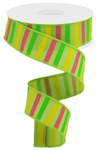 "1.5""X10Yd Horizontal Stripe On Royal Brt Grn/Yllw/Grn/Lt Pink RGA120409 - DecoExchange"