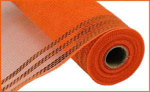 "10.5""X10Yd Border Stripe Metallic Mesh Orange W/Orange Foil RY850220 - DecoExchange"