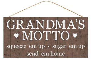 "12.5""L X 6""H Grandma'S Motto Sign Brown/White AP8387 - DecoExchange"