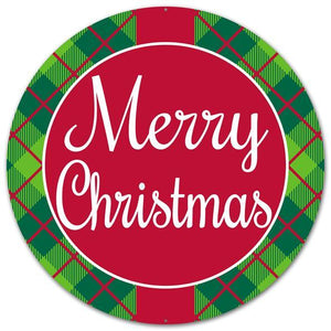 "12""Dia Metal Merry Christmas Sign Red/Green/White AP0145 - DecoExchange"