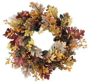 "24""Dia Oak/Acorn/Pinecone Wreath Fall-Natural XX2191 - DecoExchange"