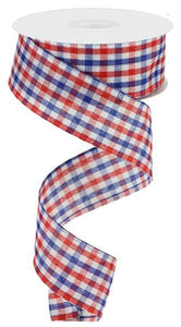 "1.5""X10Yd Woven Gingham Check Red/White/Blue RGA1102A1 - DecoExchange"