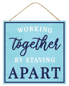 "10""Sq Working Together Sign Navy/Lt Blue/White AP7090 - DecoExchange"