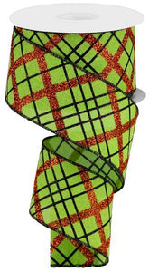 "2.5""X10Yd Glitter Diagonal Plaid/Royal Lime/Orange/Black RGA1223E9 - DecoExchange"