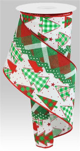"4""X10Yd 3-In-1 Christmas Tree/Ricrac Emerald/Red/White RGS005427"