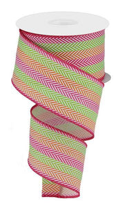 "2.5""X10Yd Multi Color Herringbone Pink/Lime/Orange/White RW7823AA"