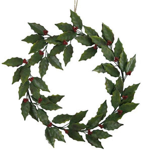 "19.5""Dia Metal Holly Berry Wreath Green/Gold/Red XS0899 - DecoExchange"