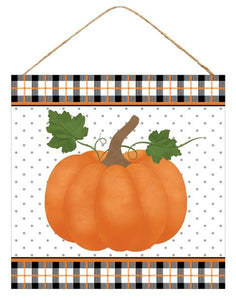 "10""Sq Pumpkin W/Plaid Border Sign Black/Orange/Green/White AP7053 - DecoExchange"