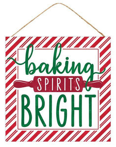 "10""Sq Baking Spirits Bright Sign White/Red/Emrld/Dark Red AP7020 - DecoExchange"