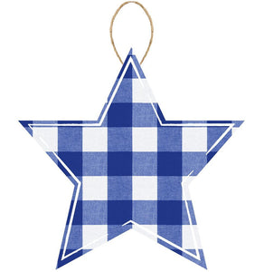 "12""L X 11.75""H Check Star Blue/Lt Blue/White AP858403 - DecoExchange"