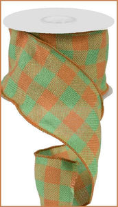 "4"" X 25Yd Faux Burlap Check Moss Green/Orange RA20679H - DecoExchange"