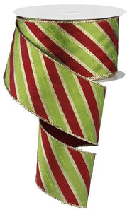 "2.5""X10Yd Diagonal Stripe Red/Lime/Gold RM9897 - DecoExchange"