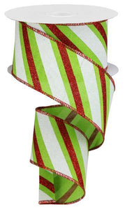 "2.5""X50YD DIAGONAL GLITTER STRIPE LIME GREEN/RED/WHITE RGA5076E9"