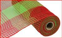 "21""X10YD PP/FAUX JUTE WIDE CHECK Red/Lime RY930534"