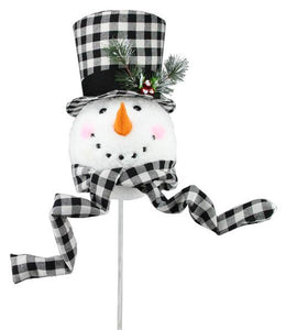 "13.5""H Snowman Head Tree Topper W/Pick White/Black XN5950 - DecoExchange"