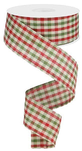 "1.5""X10Yd Primitive Gingham Check Red/Moss/Ivory RG013202F - DecoExchange"