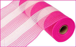 "10.5""X10Yd Poly/Faux Jute Wide Stripe Dark Pink/Cream RY830056"