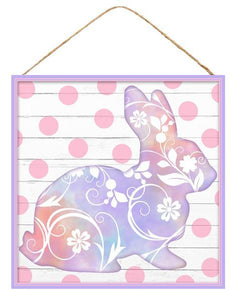 "10""Sq Mdf Floral Bunny Sign Lavender/White/Pink AP8701 - DecoExchange"