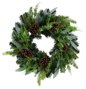 "24"" Greenery/Pine Cone Wreath Tt Green XX8072 - DecoExchange"