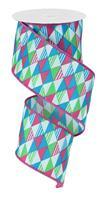 "2.5""X10yd Triangles Pink/Blue/Lime RG14514X"