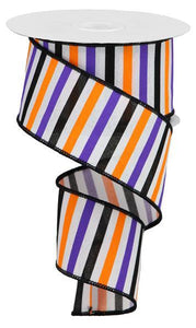 "2.5""X10YD White/Orange/Purple/Black HORIZONTAL STRIPE/ROYAL RGA121427 - DecoExchange"