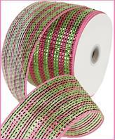 "4""X25YD WIDE FOIL STRIPE Hot Pink/Lime Green RR4063JR"