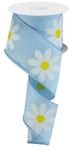 "2.5""X10Yd Daisy Bold Print On Royal Pale Blue/Yellow/White RG0165014"