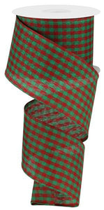 "2.5""X10Yd Gingham Check Red/Green RG0104932 - DecoExchange"