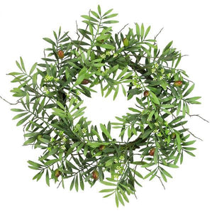 "24""Dia Olive Wreath Tt Green/Cream FG5423 - DecoExchange"