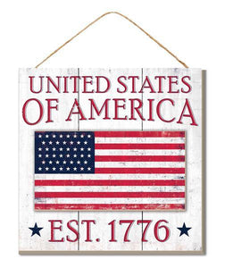 "10""Sq United States Of America Sign Ant White/Red/Blue AP8420"