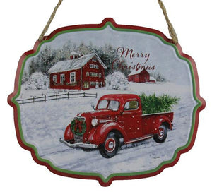 "7""W X 6""H Truck/Farmhouse Sign Red/White/Green AP0326 - DecoExchange"